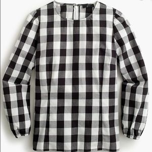 J.crew puff sleeve top in oversized gingham